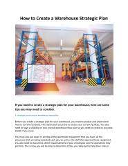 Used Warehouse Equipment - How to Create a Warehouse Strategic Plan.pdf